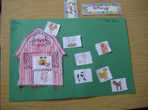 I found this barn and selection of animals on a website. You can find it here. http://buggyandbuddy.com/peek-a-boo-farm-animals-activity-free-printable/ Some children put ALL the animals in the barn, others put them all outside. some drew extra details like a lake and a fence.